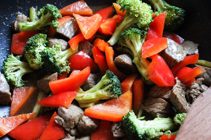Beef and Brocolli in the pan