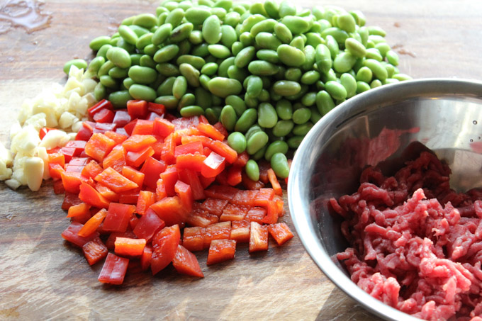 Easy Ground Beef and Edamame Ingredients