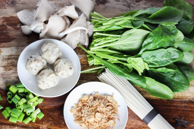 Spnich and Mushroom Noodle Ingredient
