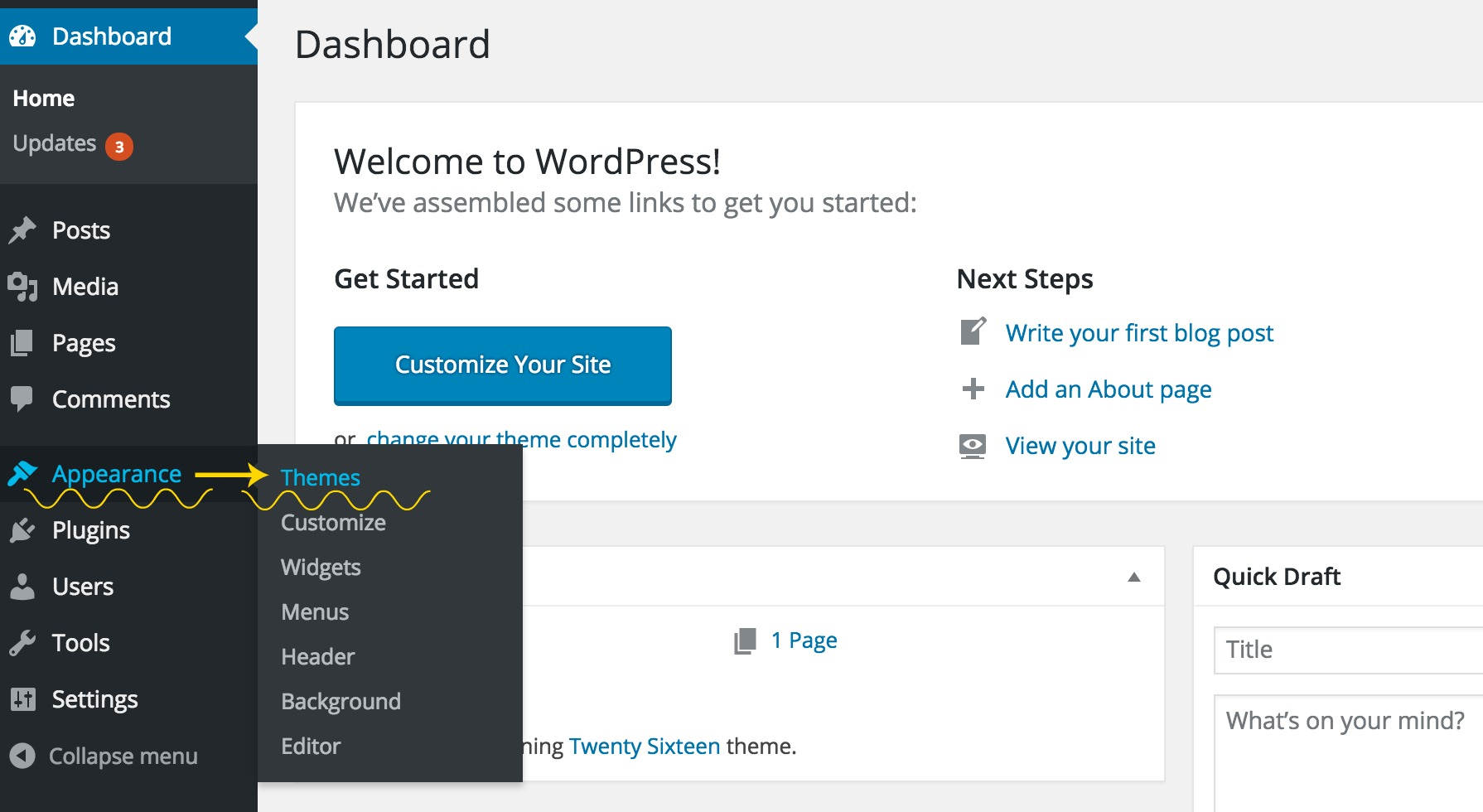 Themes on wordpress dashboard