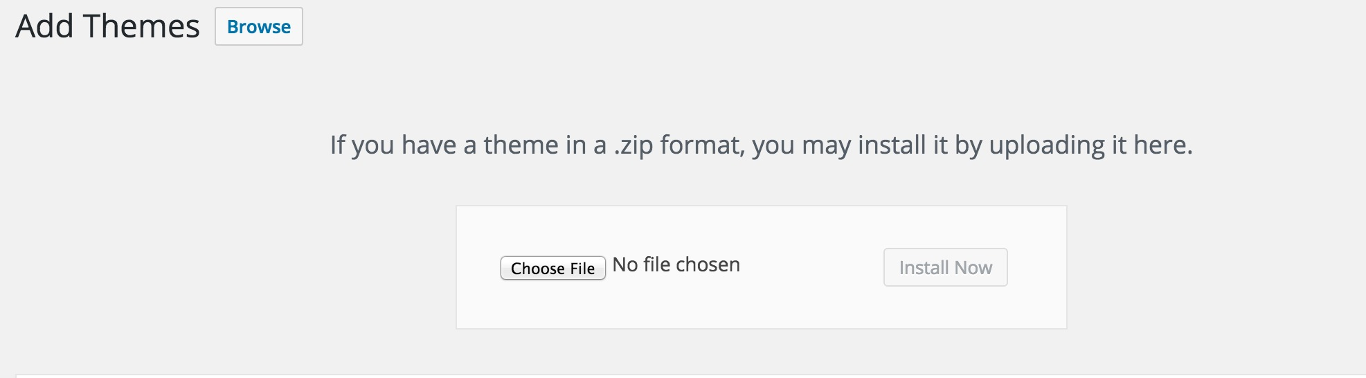 Uploading theme file