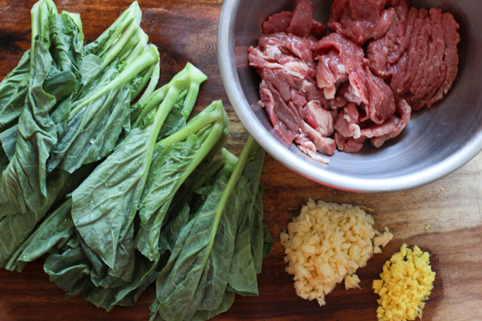 Beef with Chinese Broccoli Ingredients