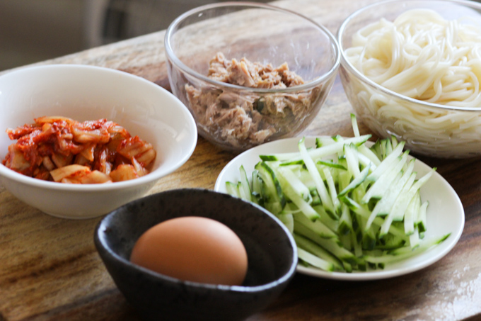 Cold Noodles with Tuna and Kimchi Ingredients