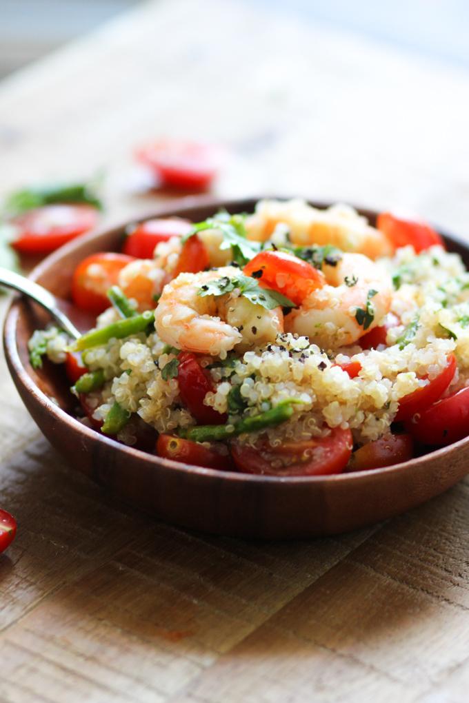 ... made a shrimp salad with quinoa and honey vinaigrette salad dressing