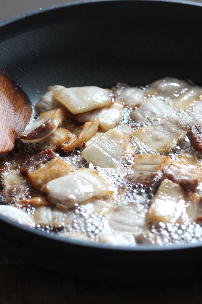 Pan fry pork belly