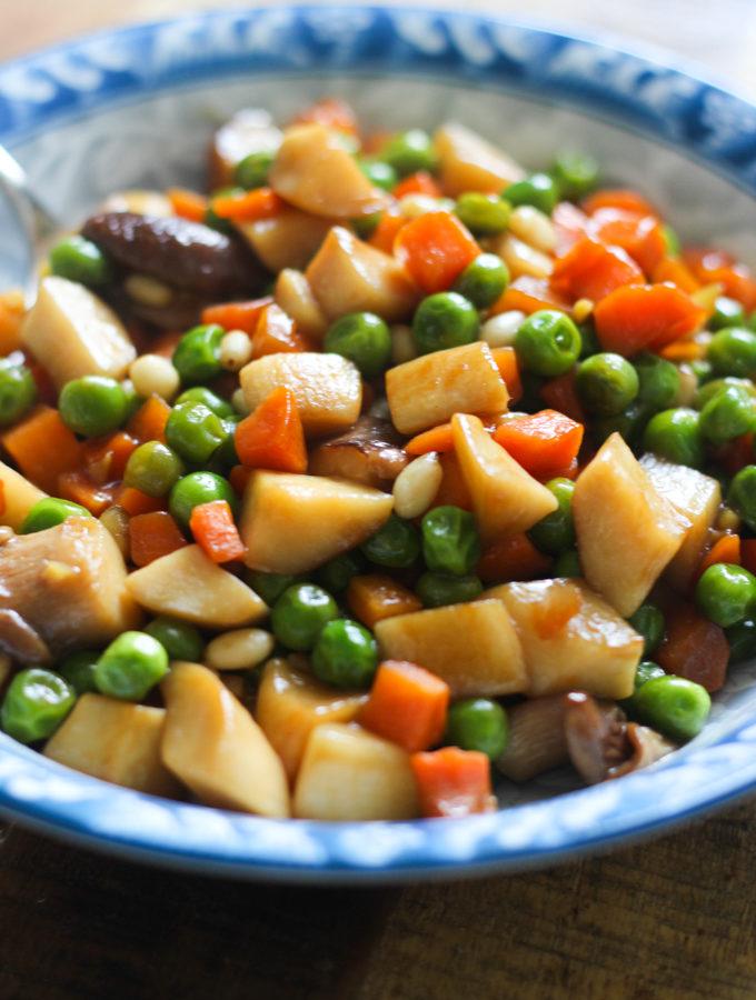 Sautéed Carrots, Peas and Trumpet Mushrooms