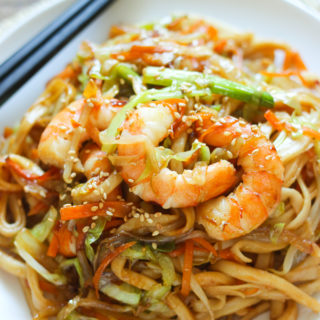 Stir-Fried Udon with Shrimp