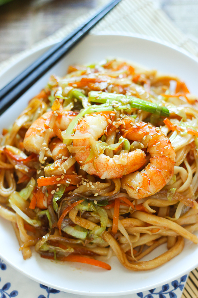 Stir-Fried Udon with Shrimp - Spice the Plate