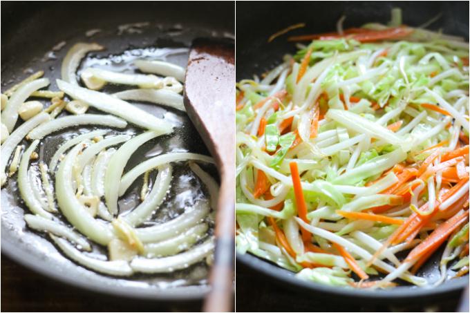 stir-fried udon with shrimp step one
