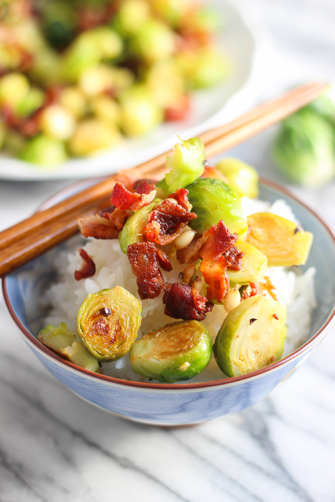 Bacon with Russell Sprouts in a bowl