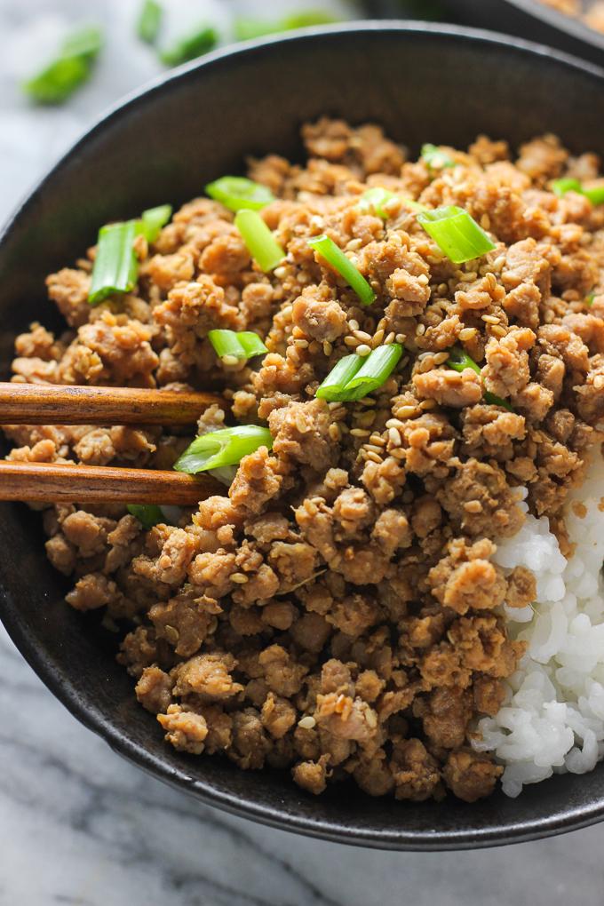 Ginger Minced Pork Rice Bowl Close Shot