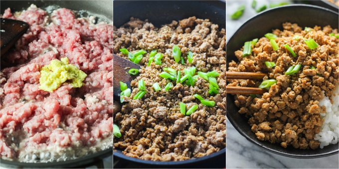 How to Make Ginger Minced Pork Rice Bowl