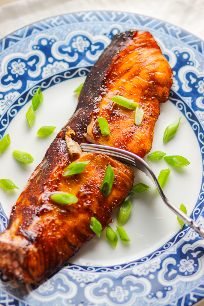 Teriyaki Salmon with scallion