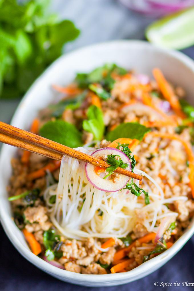 Thai Minced Pork Over Rice Noodle (Larb) Image