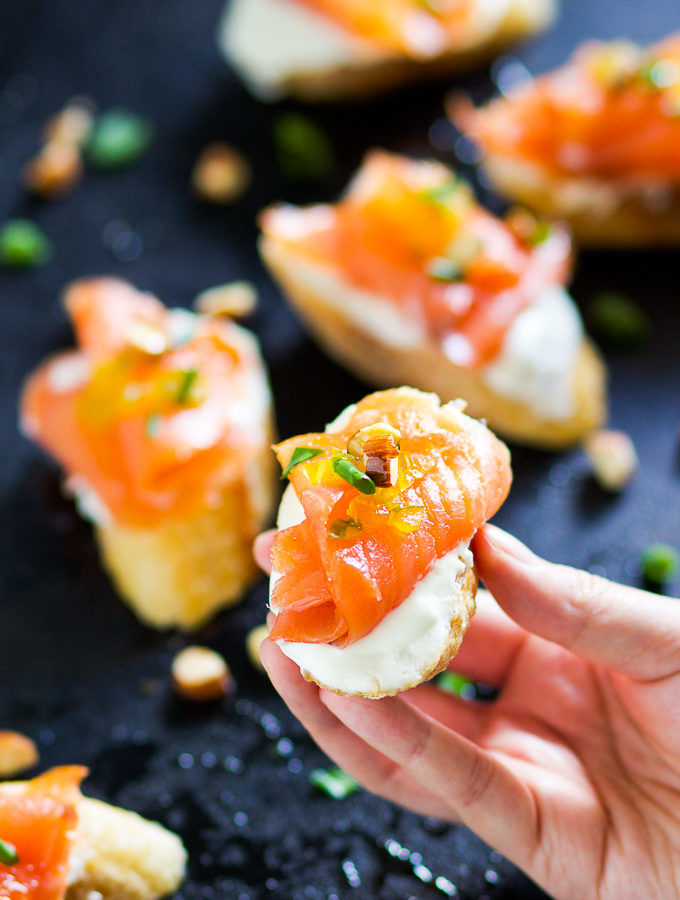 Smoked Salmon Montadito with Mexican Crema