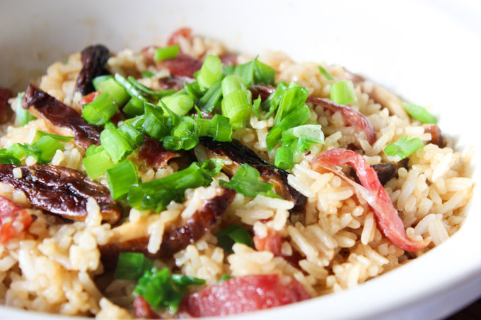 Tasty Chinese Sausage and mushroom rice