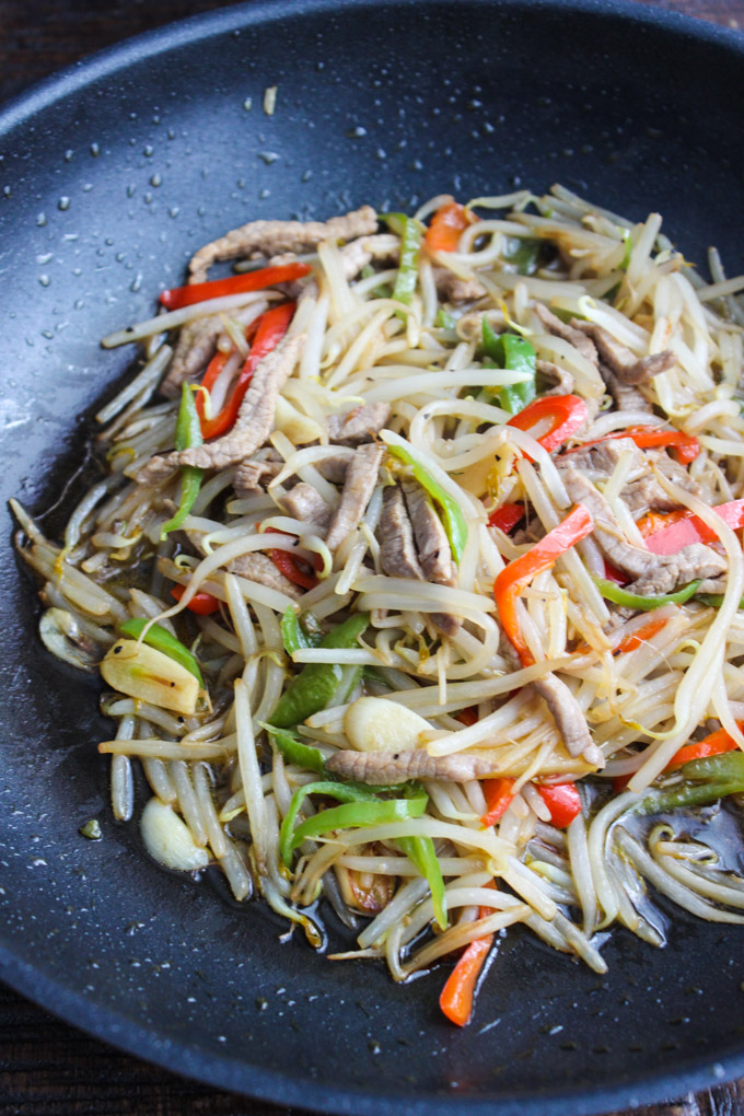 Tasty beef and bean sprouts Stir Fry