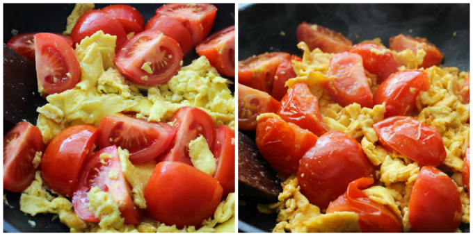 Cook egg and tomato