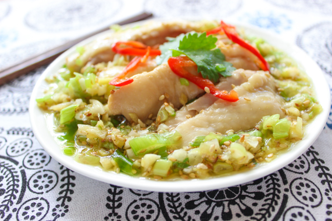 Chicken with Green Onion Sauce-7