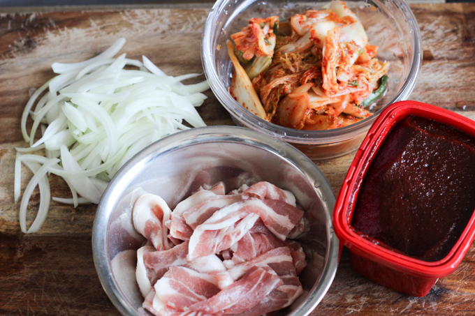 Pork Belly and Kimchi Ingredients