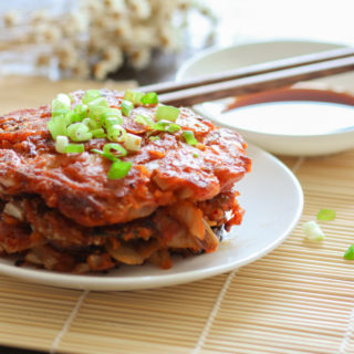 Pan frying Homemade Kimchi Pancake