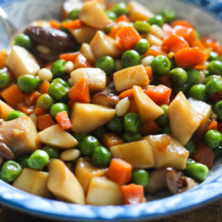 Sautéed Carrots, Peas and Trumpet Mushrooms