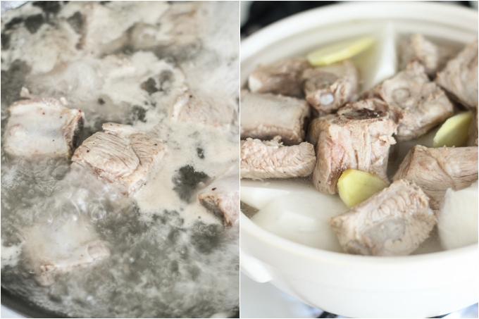 Pork rib soup with daikon step one