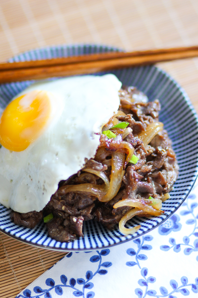 Pan-fried Marinated Beef with Egg
