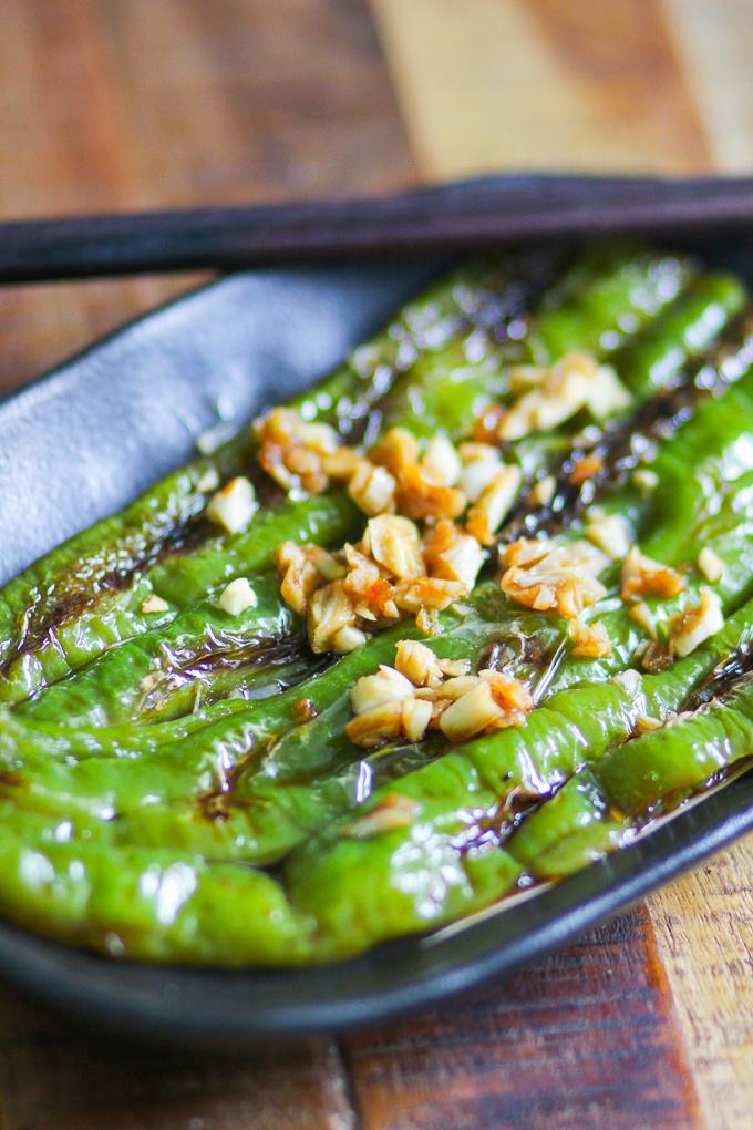 Pan-seared green pepper