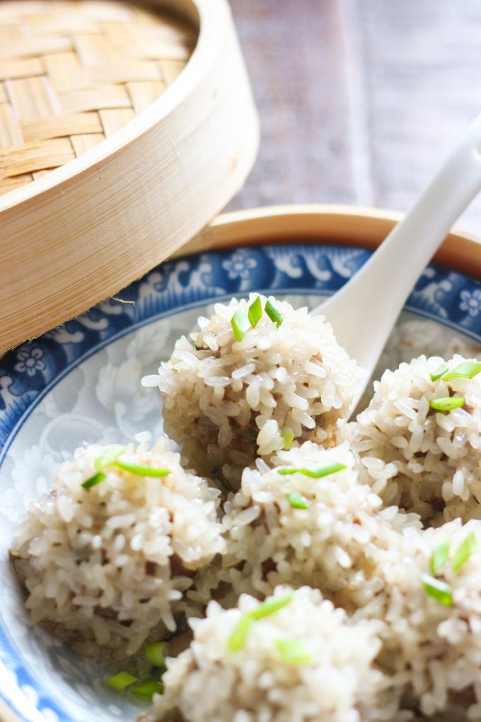 Steamed Sticky Rice Meat Balls