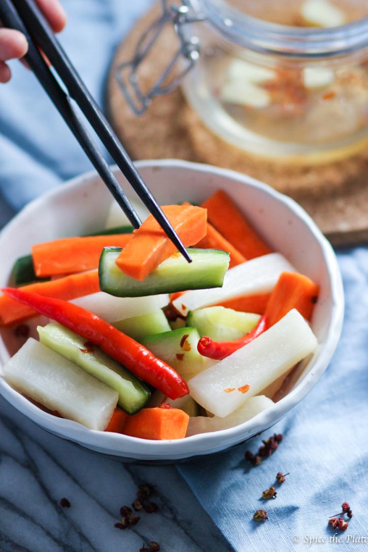 Pickled Daikon Radish, Carrot and Cucumber